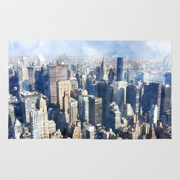 New York City, Manhattan Watercolor Cityscape Rug