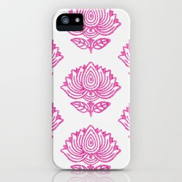 Pink Indian Woodblock Lotus Pattern iPhone Case