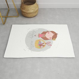 Happy Easter Girl with a Basket Art Rug