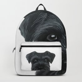 Black Schnauzer, Dog illustration original painting print Backpack