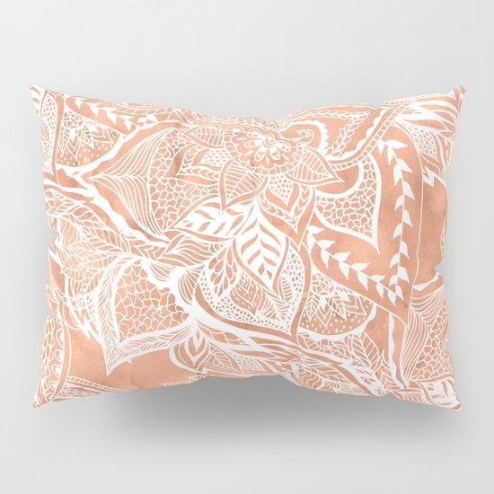 Modern tan copper terracotta watercolor floral white boho hand drawn pattern Pillow Sham by ...