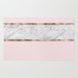 Strawberries and cream - grey marble & rose gold Rug