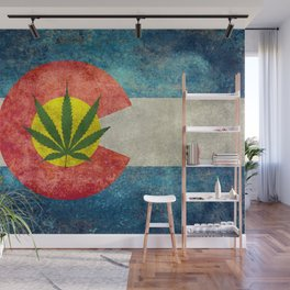 Retro Colorado State flag with leaf - Marijuana leaf that is! Wall Mural