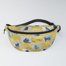 Cute Abalone Shell  Cat Pattern with gold Fanny Pack