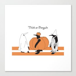 Funny Penguin Halloween Canvas Print
