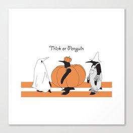 Funny Penguin Halloween Canvas Print