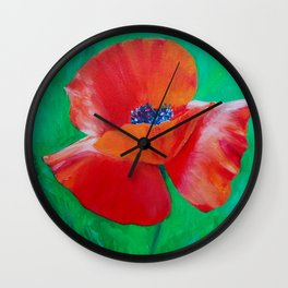 Single Poppy Wall Clock