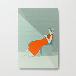 The woman in orange Metal Print