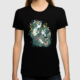 Flora and Fauna Moon phases goddess T-shirt