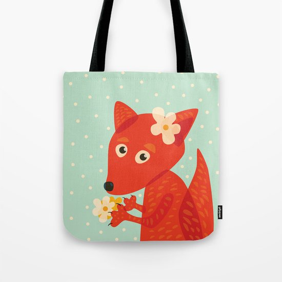Cute Fox And Flowers Tote Bag