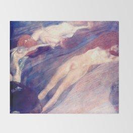"""Gustav Klimt """"Bewegtes Wasser (Moving Water)"""" Throw Blanket"""