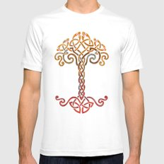 Woven Tree of Life White Mens Fitted Tee MEDIUM