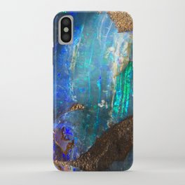 Turquoise geode opal iridescent holographic druse crystal quartz agate gem gemstone mineral stone iPhone Case