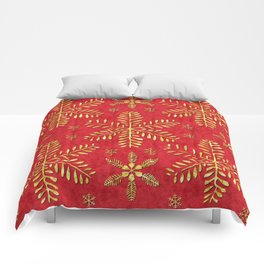 DP044-2 Gold snowflakes on red Comforters