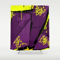 evil dead Shower Curtains featuring EVIL by clogtwo