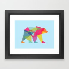Fractal Bear - neon colorways Framed Art Print