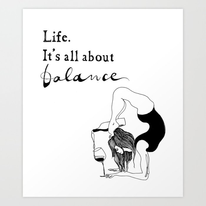 Funny yoga print original yoga art unique yoga gift black and white