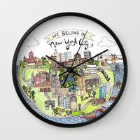 new york city Wall Clocks featuring New York City Love by Brooke Weeber