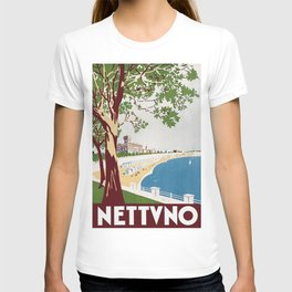 Vintage Nettuno Italy Travel Poster T-shirt