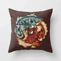 buddhism Throw Pillows featuring The Tiger and the Dragon by Megan Lara