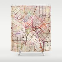 dallas Shower Curtains featuring Dallas by MapMapMaps.Watercolors