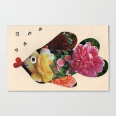 Flower Fish Valentine Canvas Print