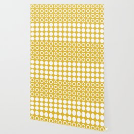 Mid Century Modern Circles And Dots Mustard Yellow Wallpaper