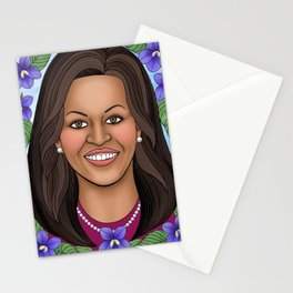 Michelle Obama portrait with blue violets Stationery Cards