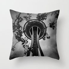 travel wall tapestry trees tapestries Space Needle in Seattle, Cascadia Throw Pillow