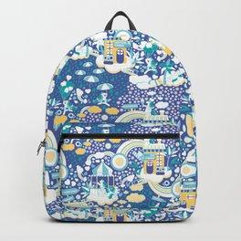 The secret map of Unicorns Village II // indigo blue background Backpack