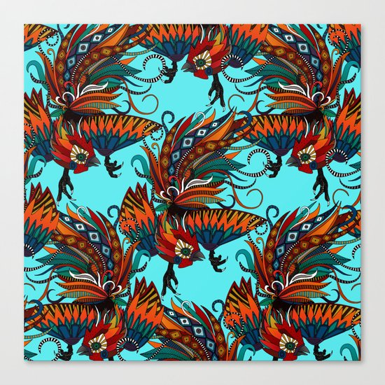 rooster ink turquoise Canvas Print