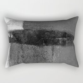 Torn Edges - Grey and White Minimalist Abstract Painting Rectangular Pillow