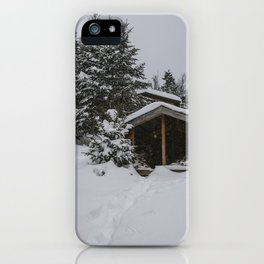 Winter at Lonesome Lake Hut iPhone Case