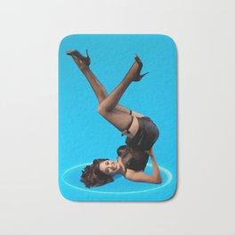 """Dizzy Desi"" - The Playful Pinup - Black Lingerie Pinup Girl by Maxwell H. Johnson Bath Mat"