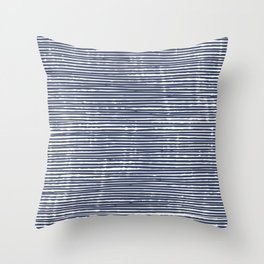 Abstract Stripes Pattern, Indigo, Navy Blue Throw Pillow