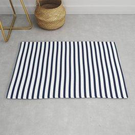 Navy Blue Vertical Stripes Rug