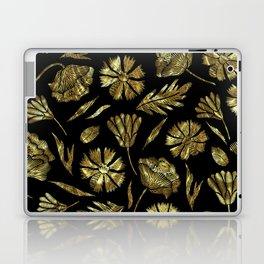 Gold foil look flowers pattern on black Laptop & iPad Skin