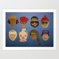 wes anderson Art Prints featuring Wes Anderson Hats by godzillagirl
