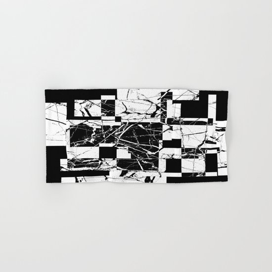 Manipulated Marble - Black and white, abstract, geometric, marble style art Hand & Bath Towel