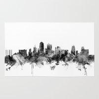 kansas city Area & Throw Rugs featuring Kansas City Skyline by artPause