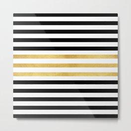 Luxurious zebra golden black lines Metal Print