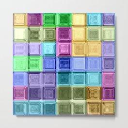 Rainbow Gems Mosaic Glass Art Metal Print