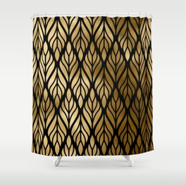 Havana Sultry Night Gold and Black Art Deco Shower Curtain