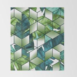 Tropical Cubic Effect Banana Leaves Design Throw Blanket