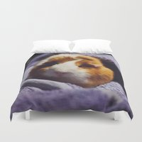 guinea pig Duvet Covers featuring My brothers guinea pig by Jamie de Leeuw