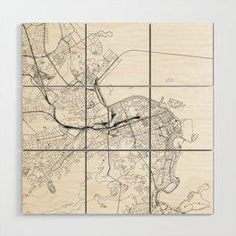 Rio De Janeiro White Map Wood Wall Art