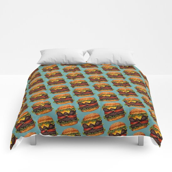Double Cheeseburger Pattern Comforters