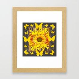 YELLOW BUTTERFLIES SUNFLOWER  CHARCOAL GREY Framed Art Print
