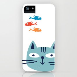 Cute cat loves fish itsyourprint iPhone Case