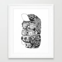 hipster Framed Art Prints featuring hipster by Jess John